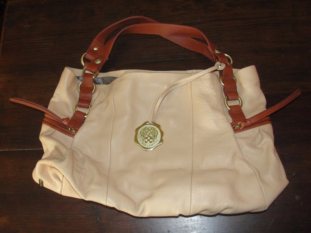 Vince Camuto Leather Handbag Purse Hobo Satchel Tote Tan