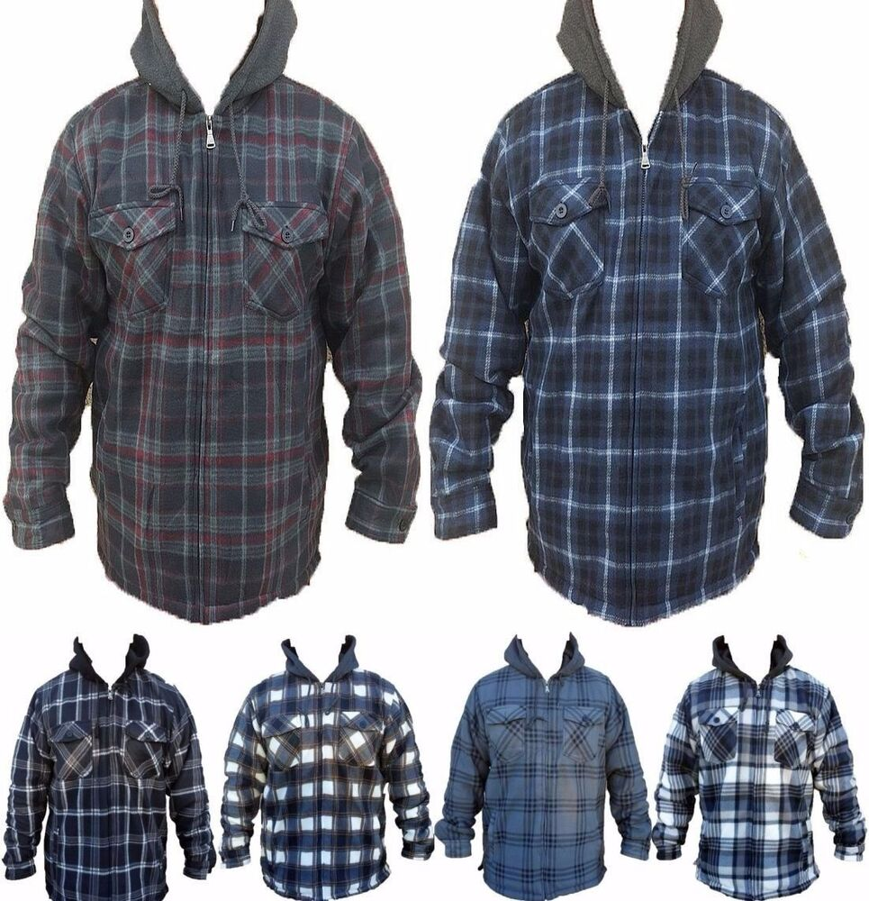 mens plaid sherpa lined flannel jacket hooded heavy fleece. Black Bedroom Furniture Sets. Home Design Ideas