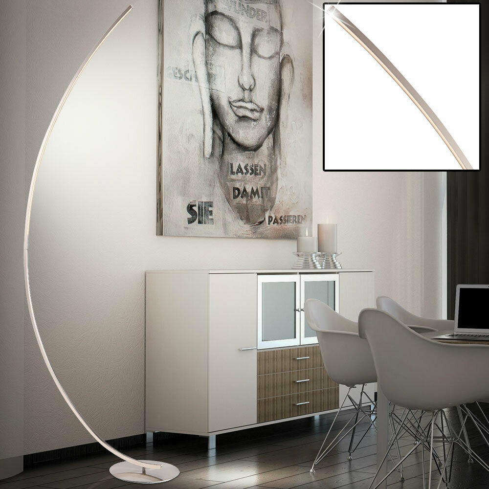 led design stehlampe bogen standleuchte wohnzimmer decken fluter 180cm b ro flur ebay. Black Bedroom Furniture Sets. Home Design Ideas