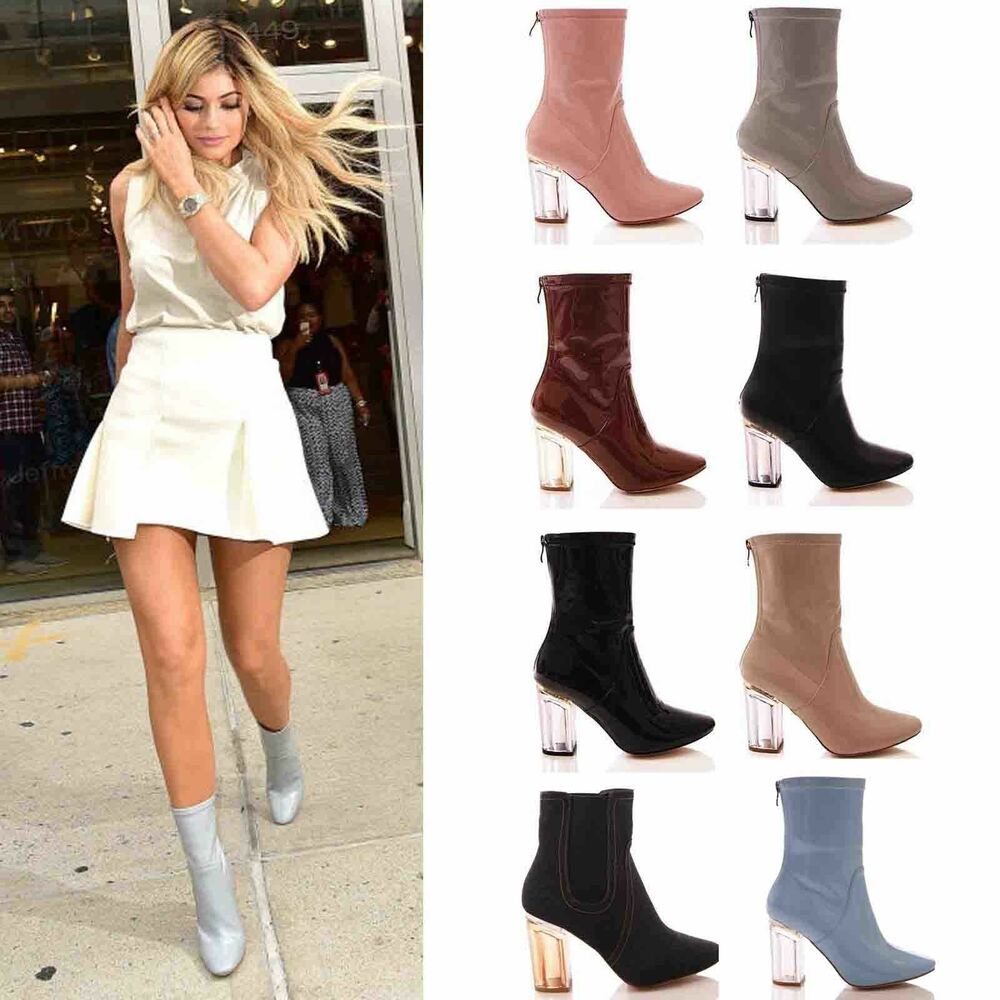 Ladies Womens Ankle Boots Clear Perspex Block High Heel Fashion Shoes Size Ebay