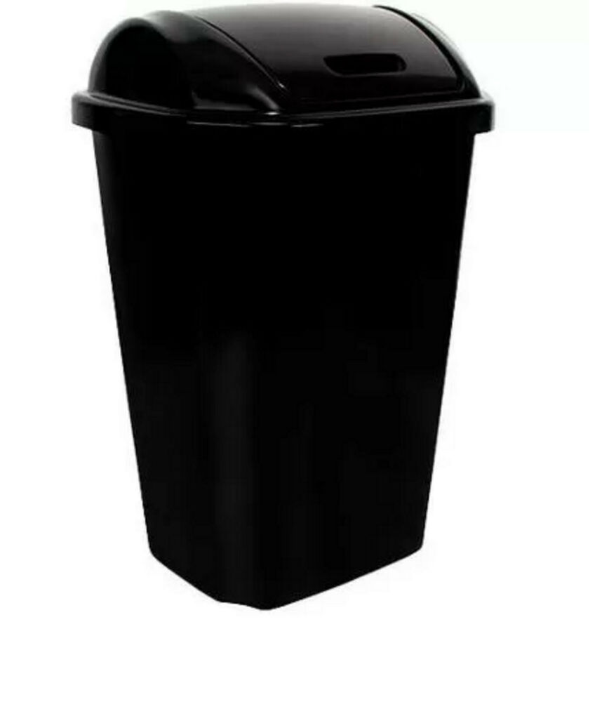 Swing lid 13 5 gallon 51 liter plastic kitchen trash can Large kitchen trash can with lid