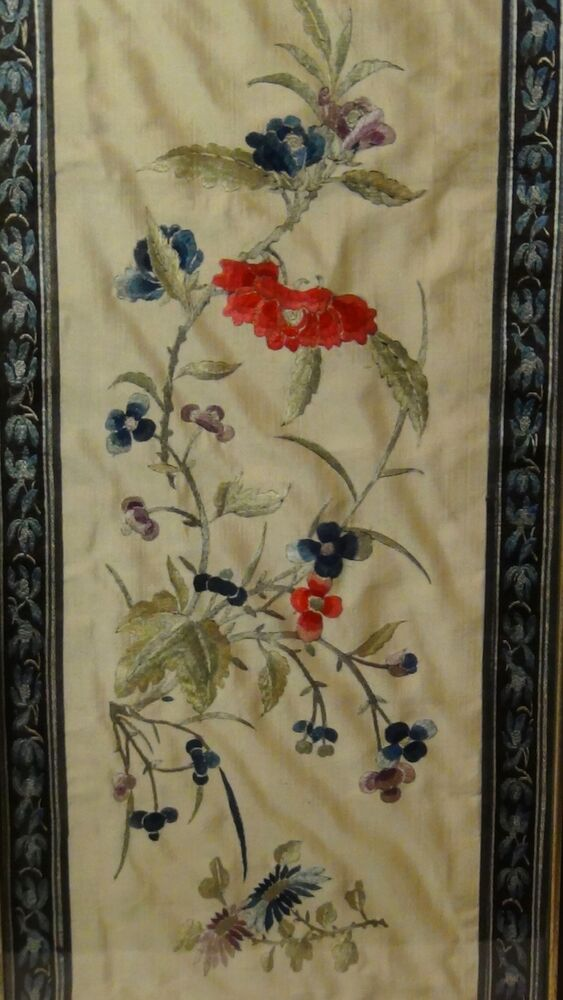 Antique 19c Chinese Forbidden Stitch Silk Embroidery Panel Of Multicolor Flowers Ebay