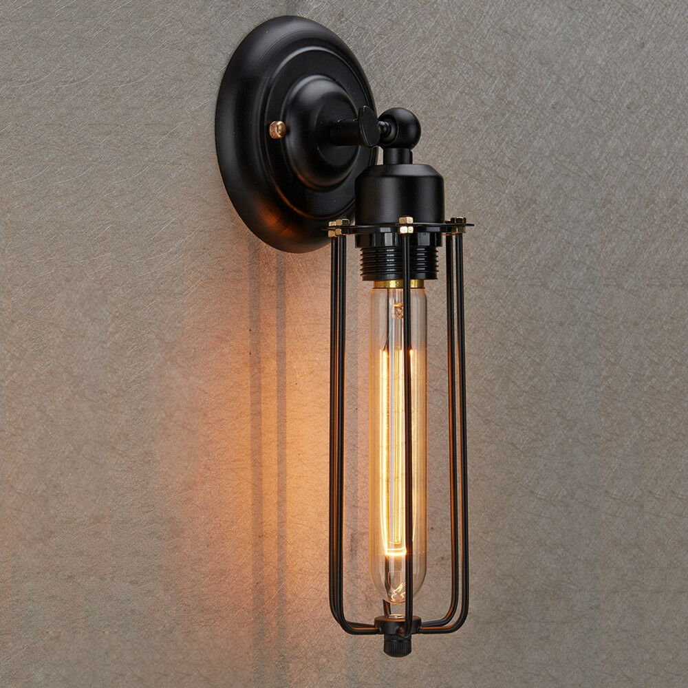Industrial Edison Vintage Style Mini Black Long Wire Cage 1-light Wall Sconce eBay