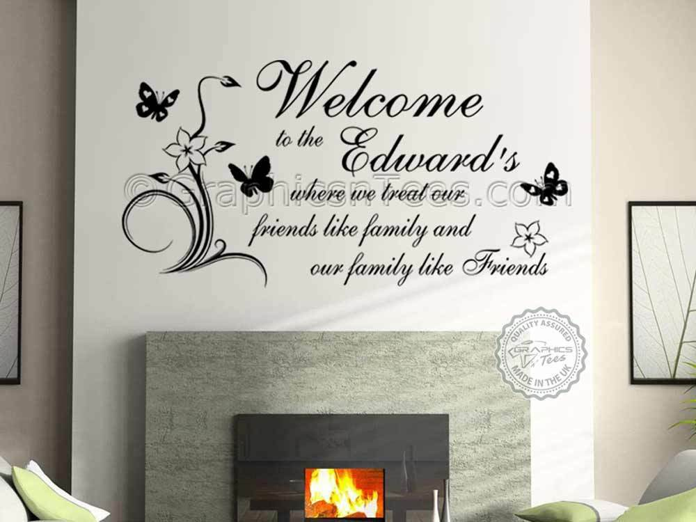 Personalised family name wall sticker quote welcome home for Home decor quotes on wall