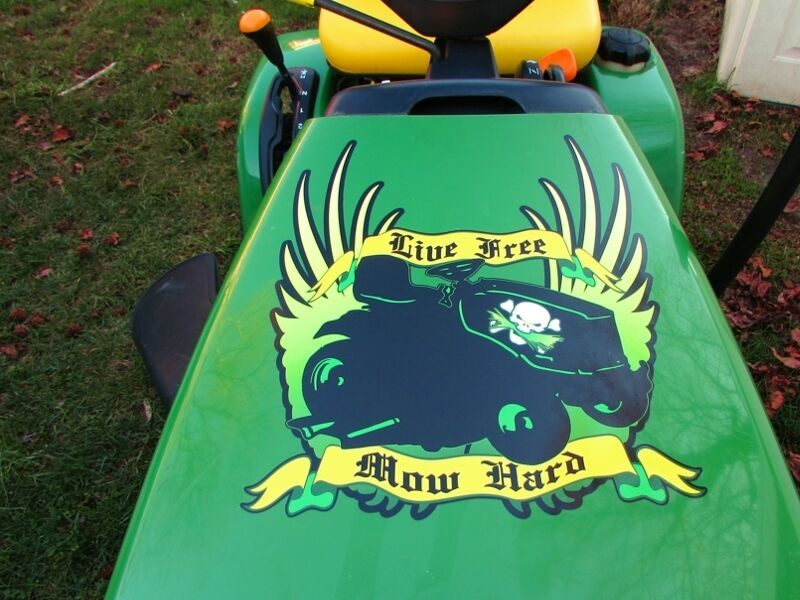 Lawn Tractor Hoods : Hood decal for john deere live free mow hard riding lawn