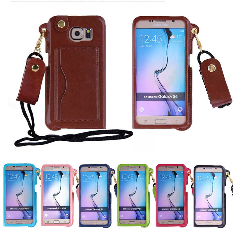 iphone lanyard case wrist neck lanyard pu leather card holder 11979