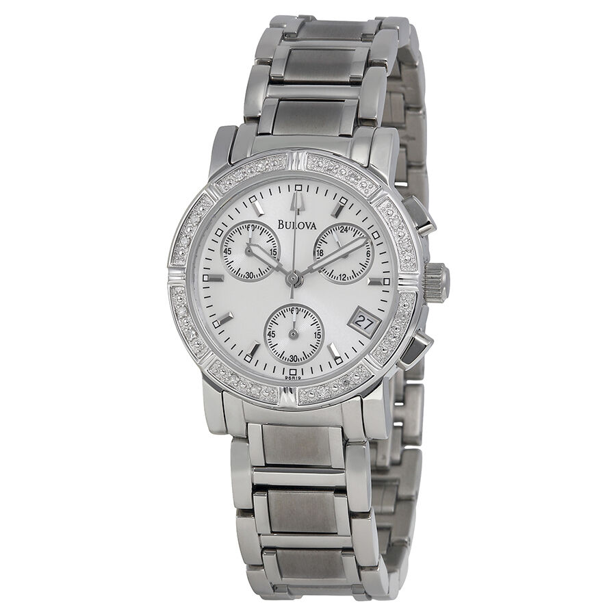 Bulova women 39 s 96r19 diamond studded chronograph watch 42429386020 ebay for Watches on ebay