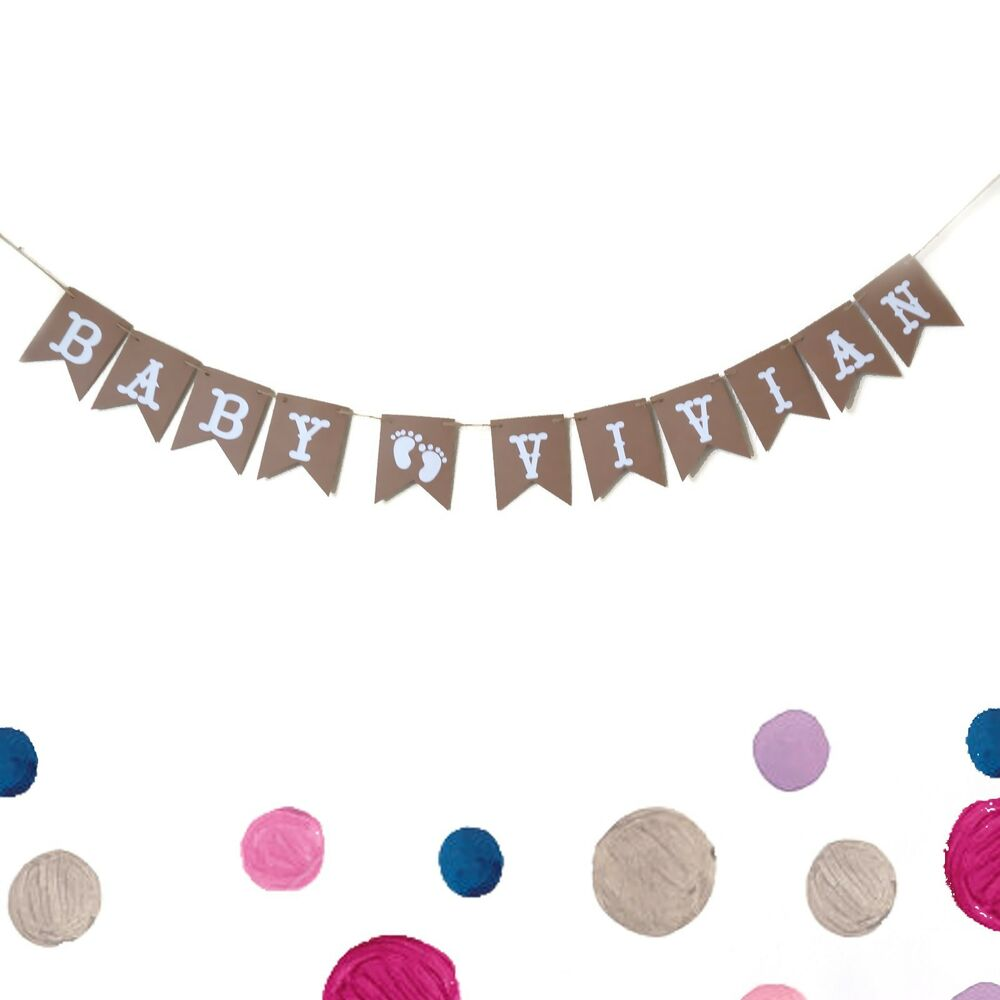 Custom Personalized Baby Name Baby Shower Banner, Happy