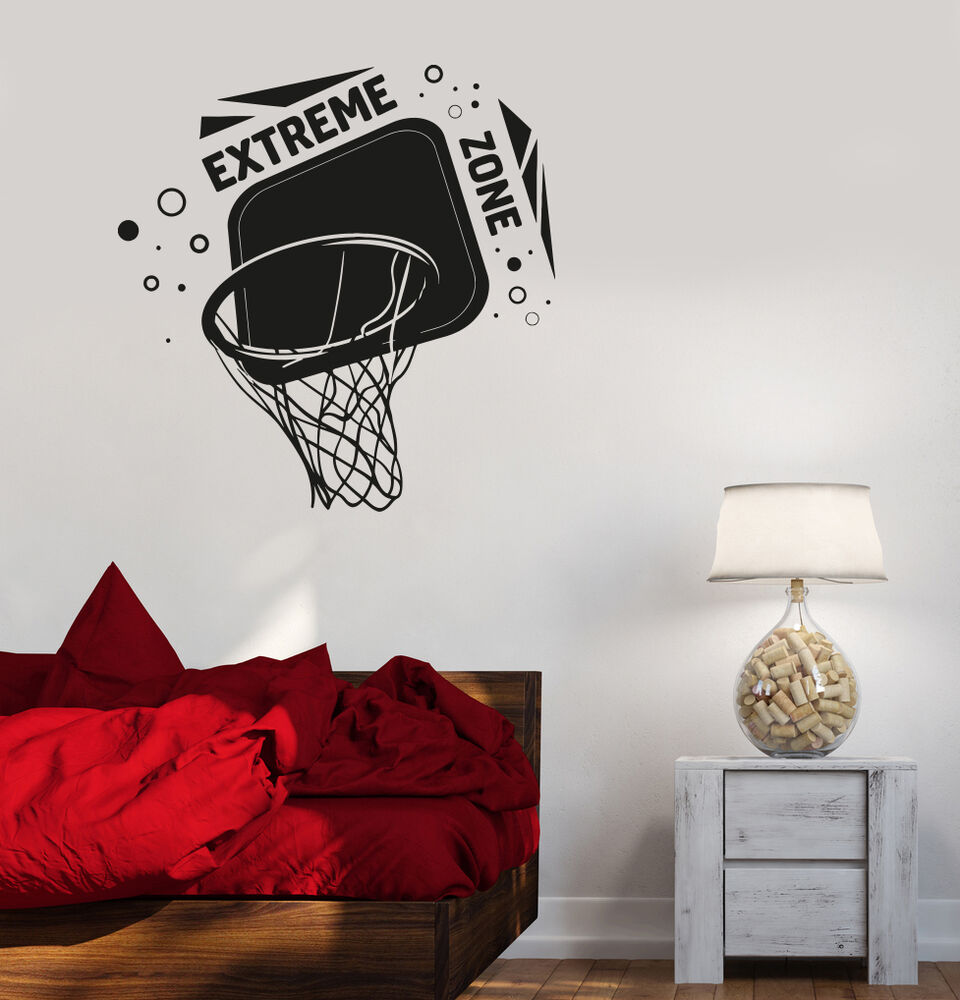 Vinyl decal basketball hoop boys room sports decor wall Boys wall decor