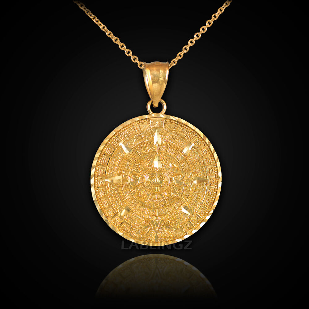 Solid gold aztec mayan sun calendar pendant necklace 10k for 10k gold jewelry
