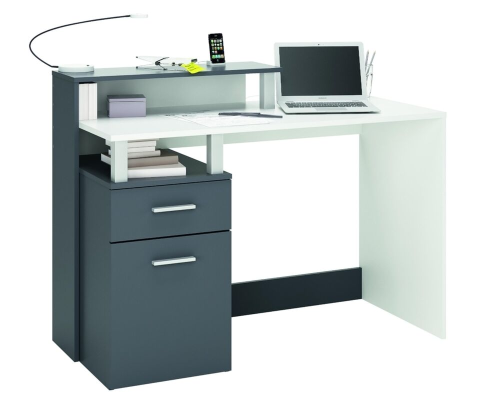 Home Office Furniture Computer Desk Study White/Grey | eBay