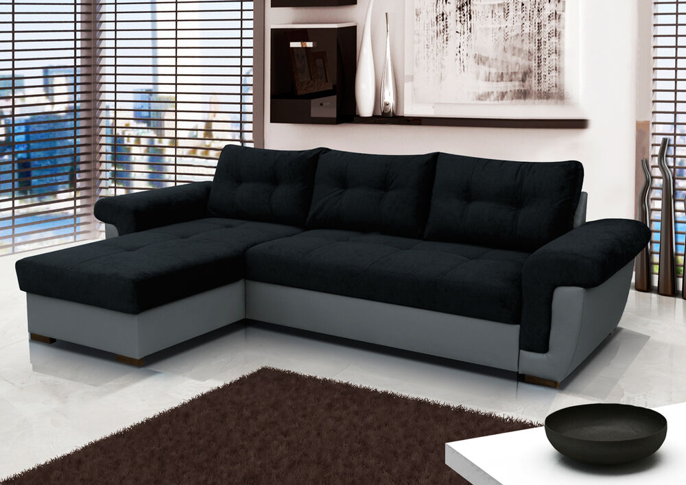 corner sofa bed with large storage black fabric grey. Black Bedroom Furniture Sets. Home Design Ideas