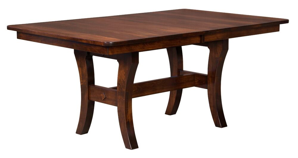 Amish madison trestle dining kitchen table solid wood for Solid wood farmhouse table