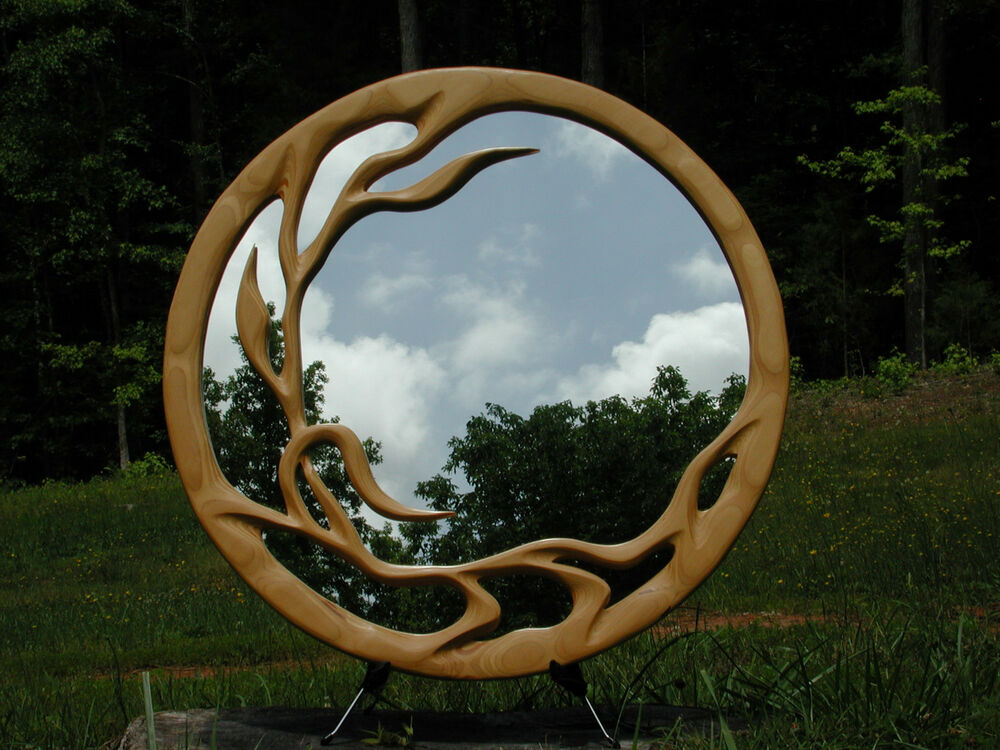 Mirror Hand Carved Wood Sculpted Decorative Art Round Wall ...