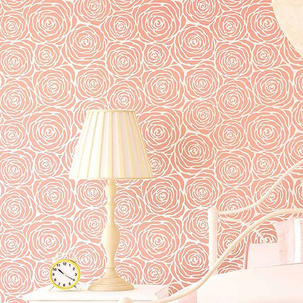 Roses allover stencil large floral wall pattern easy for Cool wall patterns