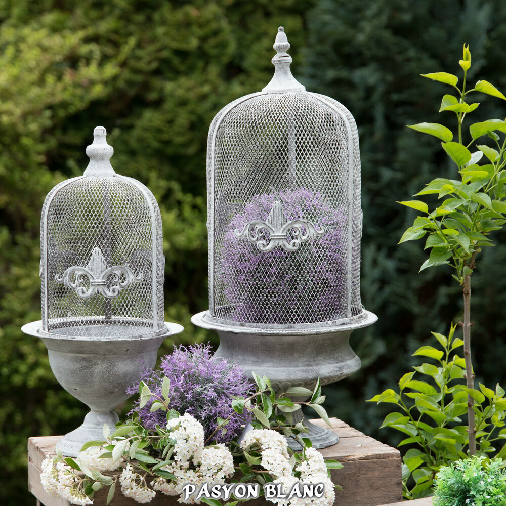 pflanztopf amphore gitterhaube draht cloche shabby chic lilie garten grau metall ebay. Black Bedroom Furniture Sets. Home Design Ideas
