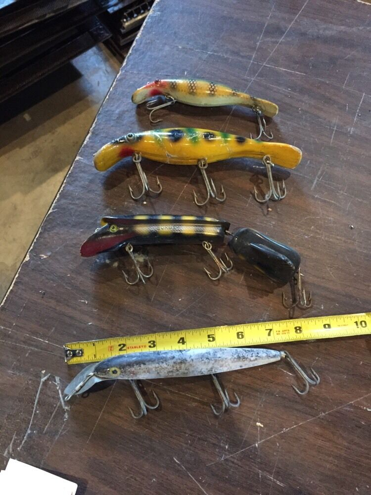 4 antique large fishing lures ebay for Ebay fishing gear