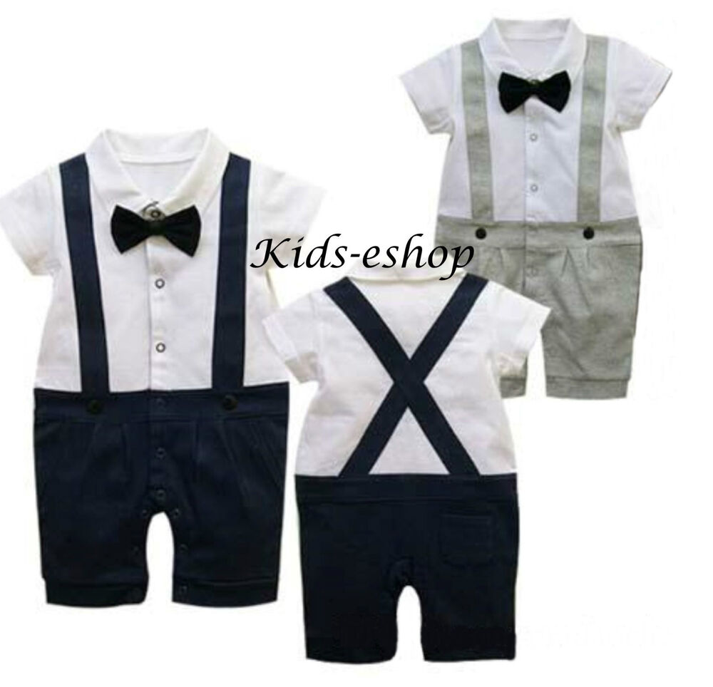 617dba3a4eb Details about Baby Boy Wedding Christening Formal Bow Smart Short Summer  Suit Outfit Tuxedo