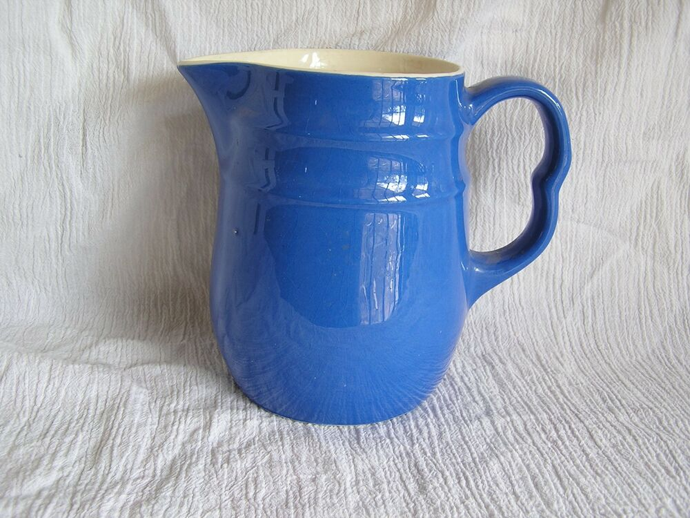 Vintage Oxford Stoneware Pottery Made In USA Blue Milk