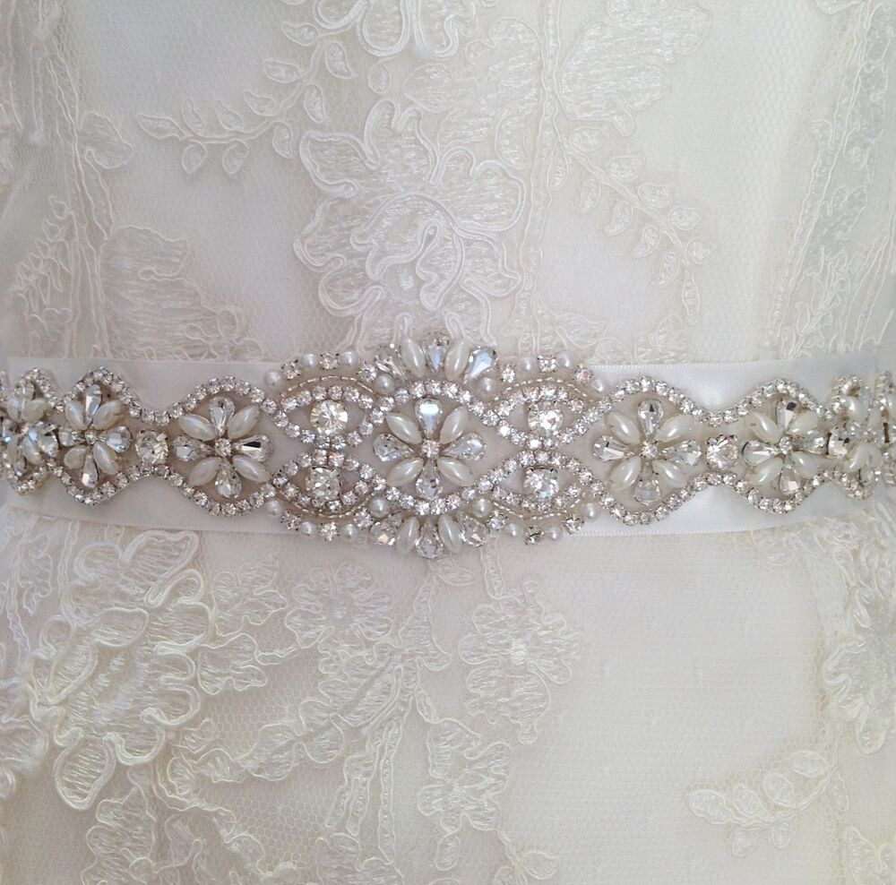 bridal wedding dress belt sash ivory pearl and