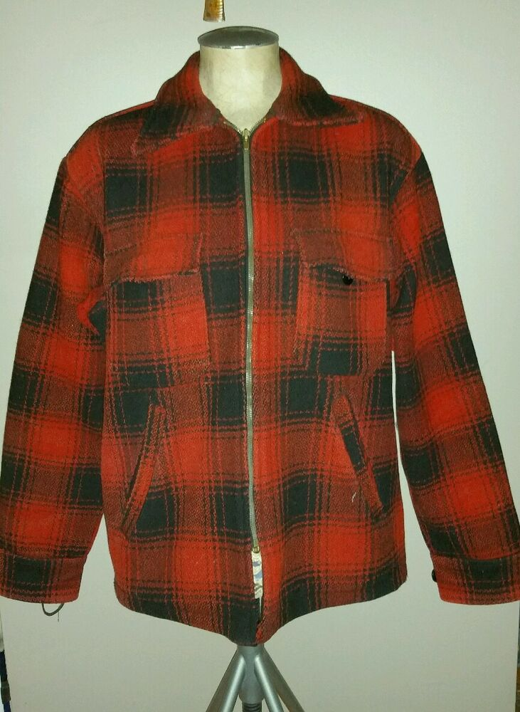 Vintage melton wool plaid hunting coat 60 39 s red mackinaw for Mens red wool shirt