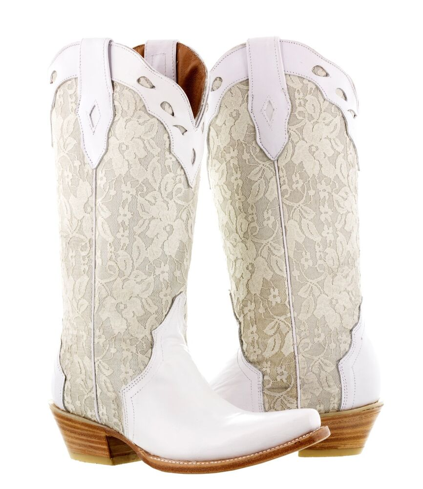 Wedding Cowgirl Boots: Womens White Leather Western Wedding Victorian Lace Cowboy