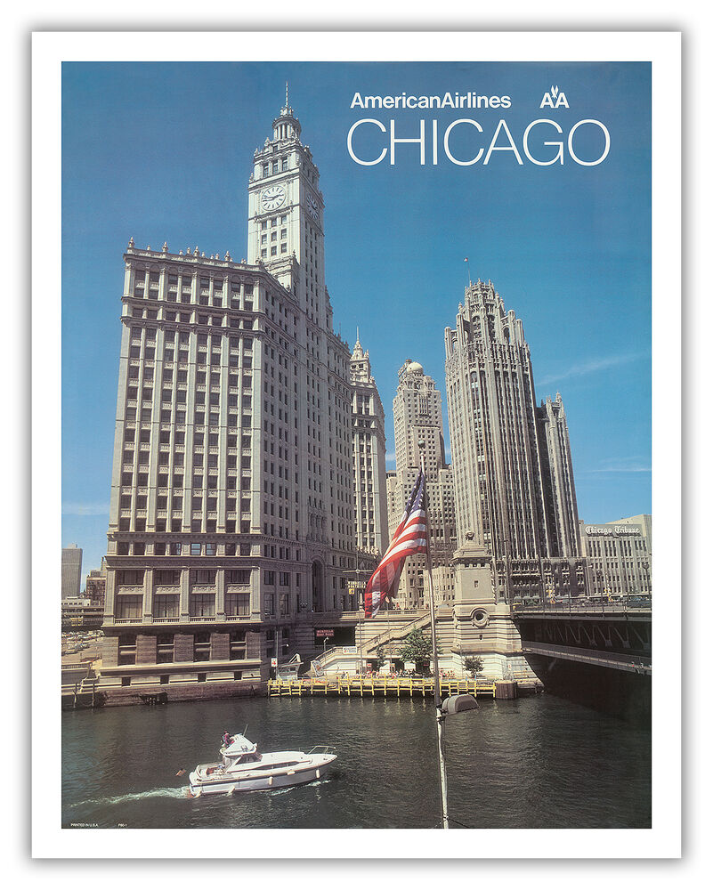 Chicago illinois skyline american airline vintage travel for Vintage chicago posters