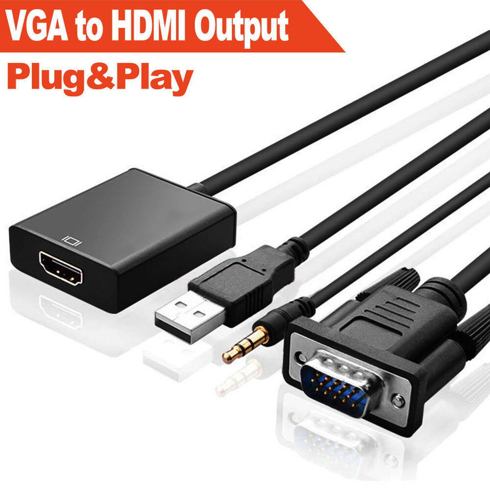 vga to hdmi output 1080p hd usb audio tv av hdtv video. Black Bedroom Furniture Sets. Home Design Ideas