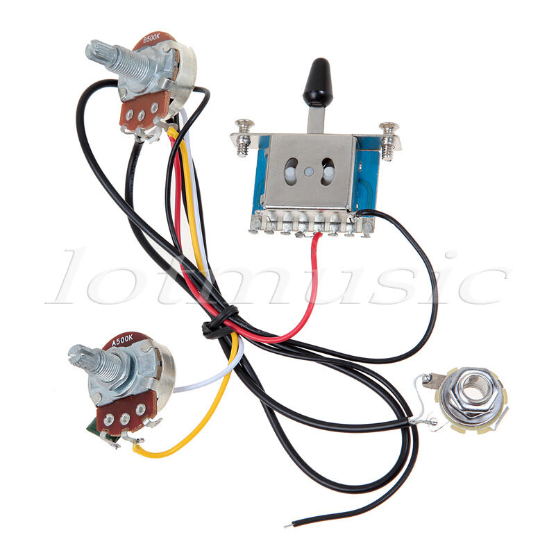 New Guitar Wiring Harness Pickup 1v2t 5 Way Switch 500k Pots For