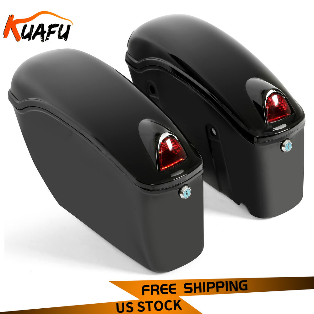 Black Motorcycle Sidecases Hard Saddle Bags Fits Most