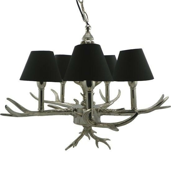 kronleuchter geweih schwarz silber 5 flammig schirmchen geweihlampe ast baum ebay. Black Bedroom Furniture Sets. Home Design Ideas
