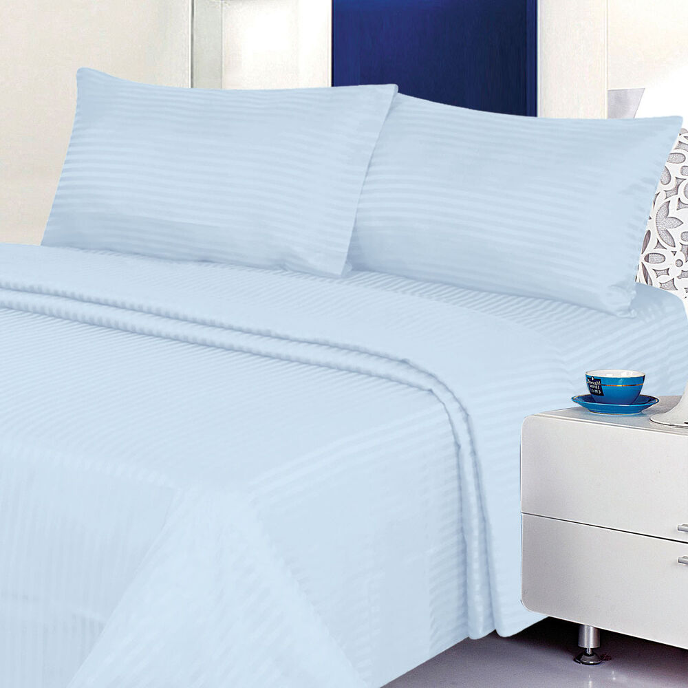 Twin Size Light Blue 400 Thread Count 100 Cotton Sateen