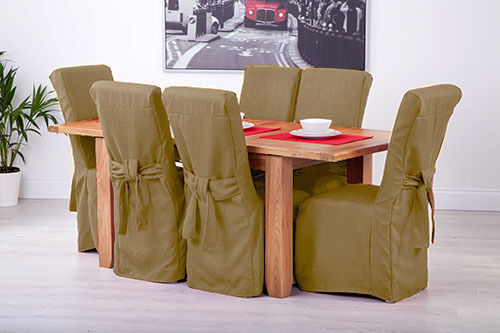 Set of 6 Sand Linen Fabric Dining Chair Covers for Scroll ...