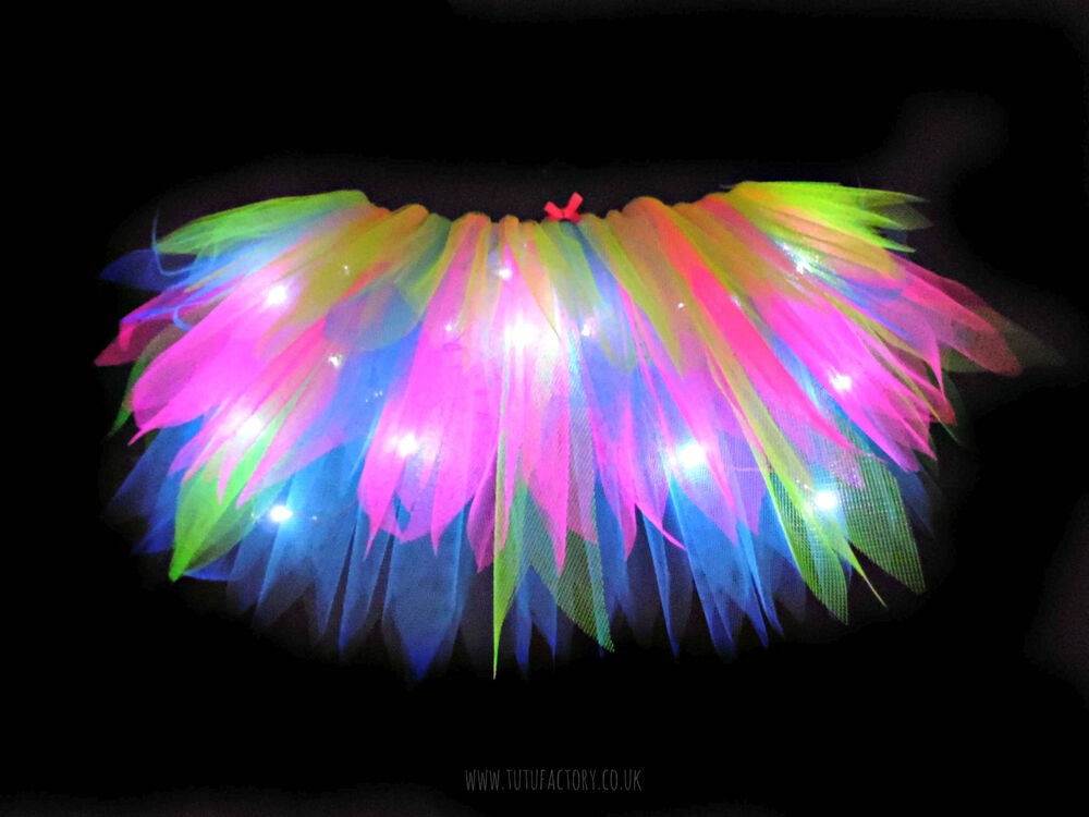 fun neon tutu light up tutus longer length 80s hen party neon fancy dress tutu ebay. Black Bedroom Furniture Sets. Home Design Ideas