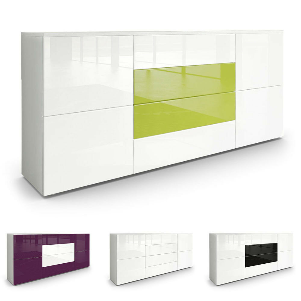 Sideboard Cabinet Rova in White High Gloss& Natural Tones eBay