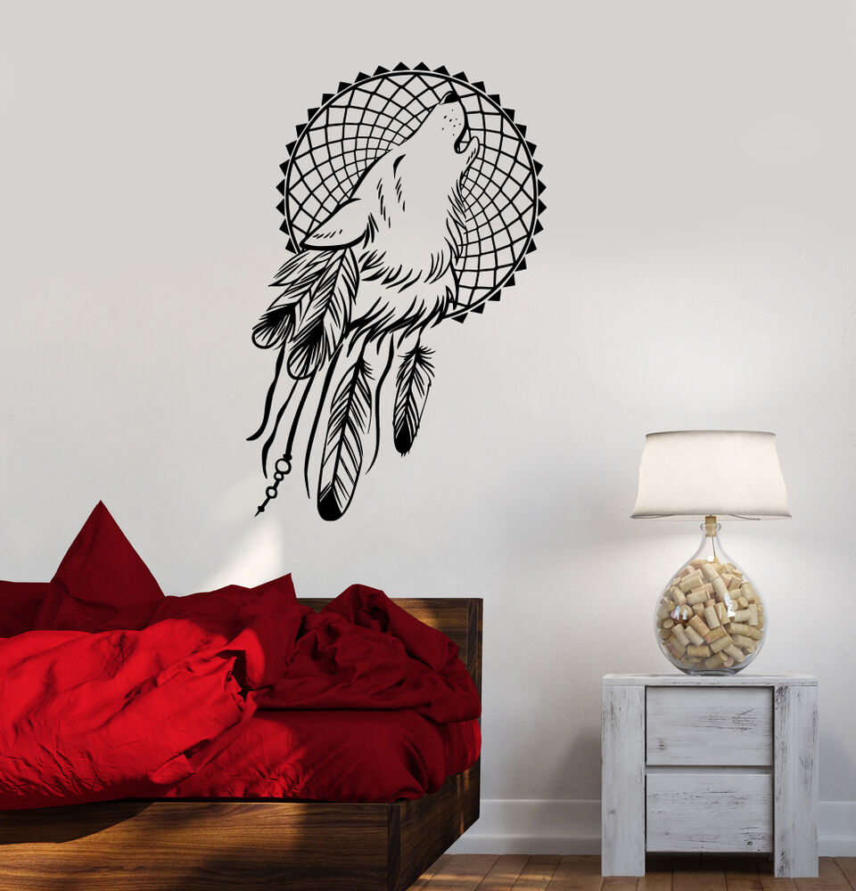 vinyl wall decals dream catcher wolf bedroom dreamcatcher ethnic stickers ig3620 ebay. Black Bedroom Furniture Sets. Home Design Ideas