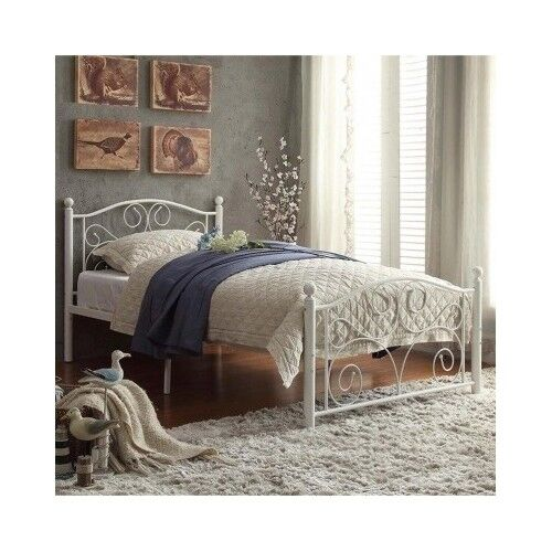 Twin platform bed frame white headboard footboard metal for Cheap metal twin bed frame