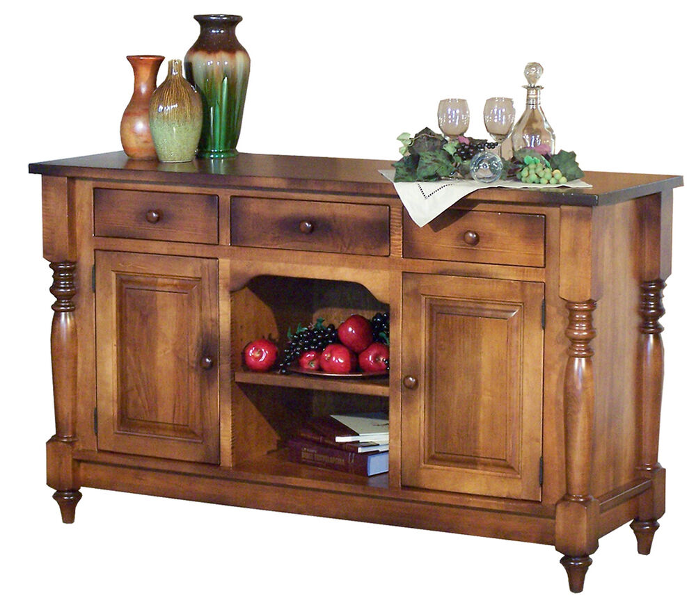 amish farmhouse harvest buffet server sideboard solid wood country 2 door ebay. Black Bedroom Furniture Sets. Home Design Ideas