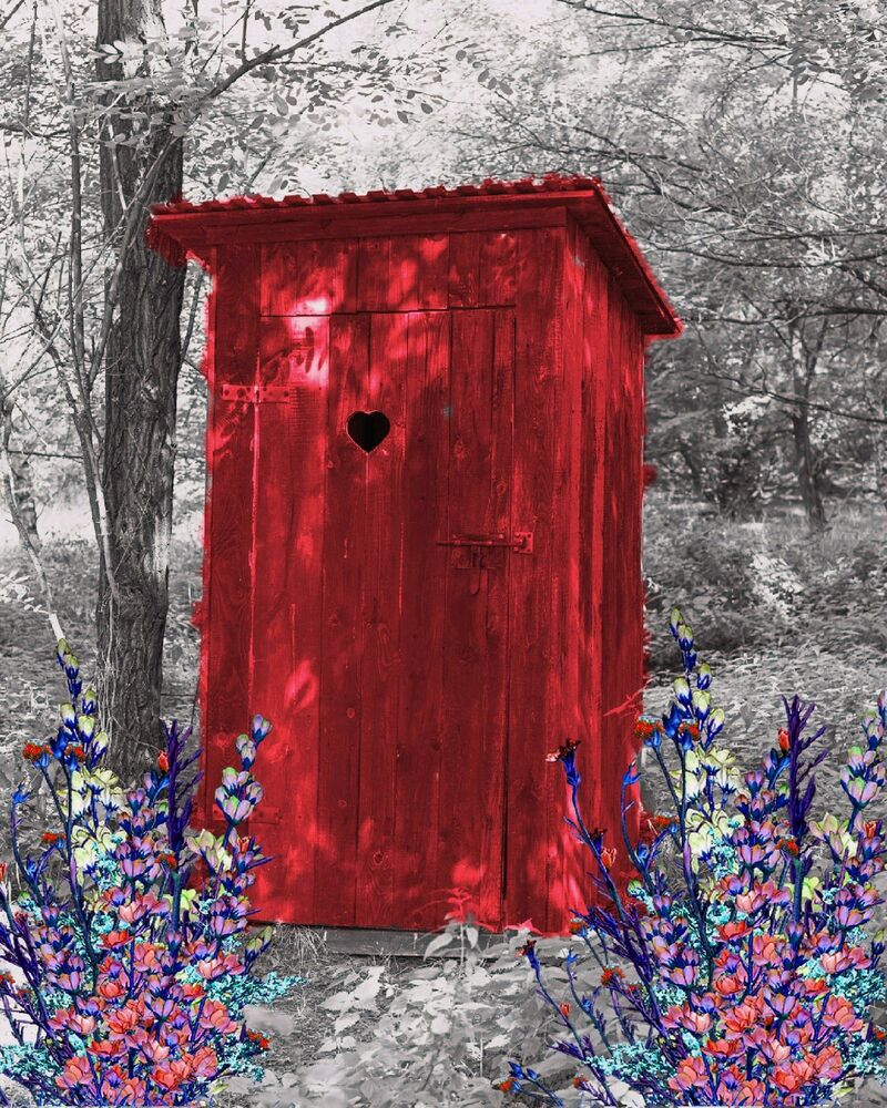 Red Gray Wall Art Photo Print Vintage Outhouse Home Bath