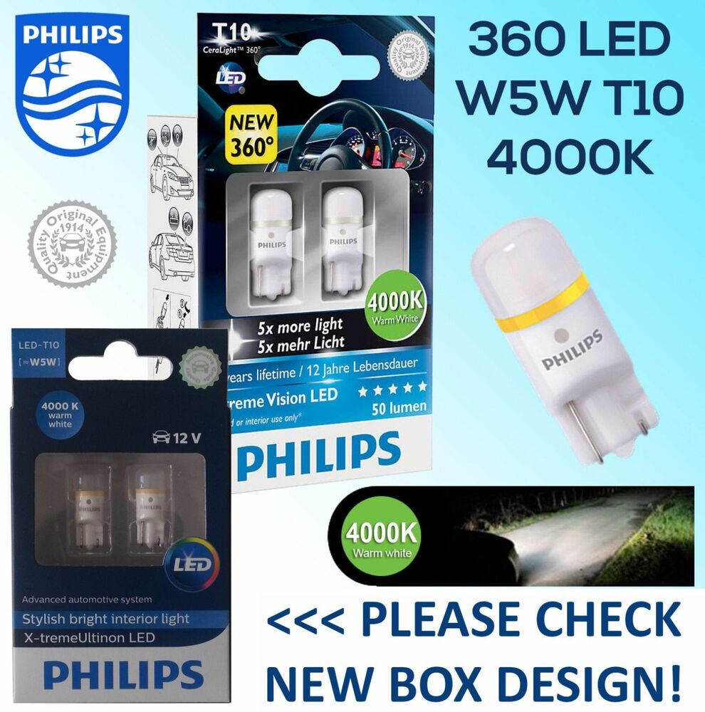 philips xtreme vision 360 led t10 501 w5w car bulbs 4000k. Black Bedroom Furniture Sets. Home Design Ideas