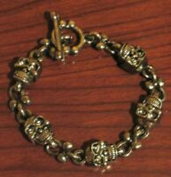 """GOTHIC Glam Jewelry SKULL TOGGLE BRACELET Silver Metal Chain Link PLUS SIZE 8"""" +"""