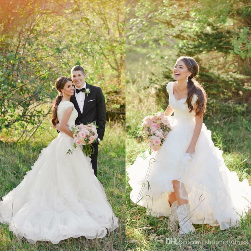Modest Ruffles Organza Wedding Dress Bridal Gown Custom