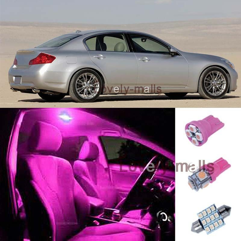 6pcs pink dome door lights interior led package kit for infiniti g35 2003 2008 t ebay. Black Bedroom Furniture Sets. Home Design Ideas