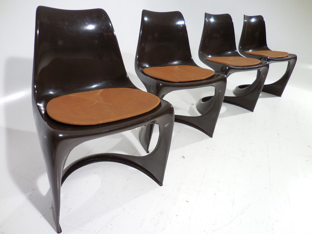 4 vintage 70 39 s original danish modern cado plastic chairs for Plastic modern chairs