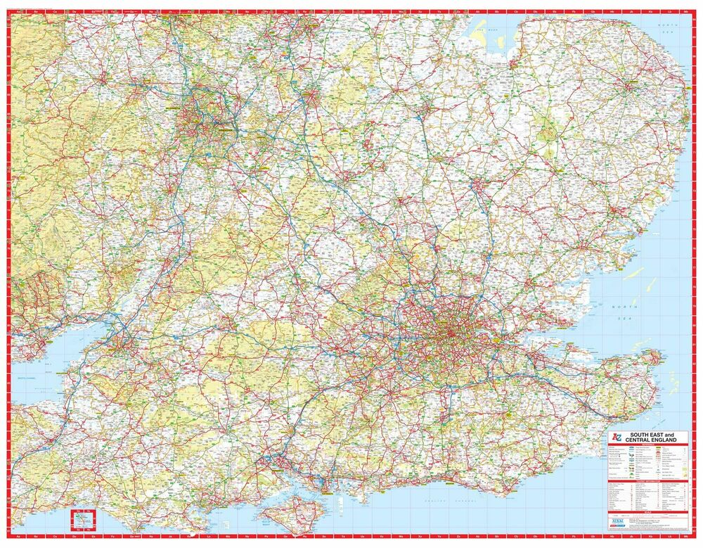 South East & Central England A-Z Road Map (GLOSS LAMINATED WALL MAP ...
