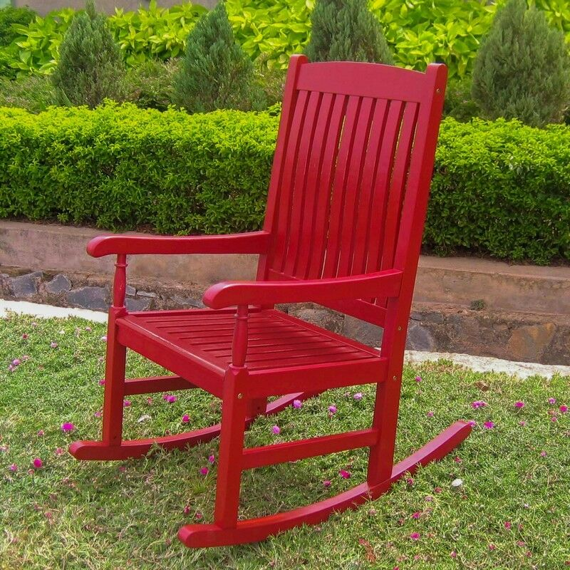 international caravan outdoor wood porch rocker red ebay. Black Bedroom Furniture Sets. Home Design Ideas