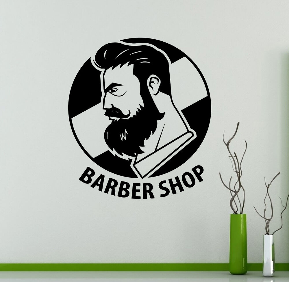 Barbershop wall vinyl decal hair salon emblem vinyl for Stickers salon design