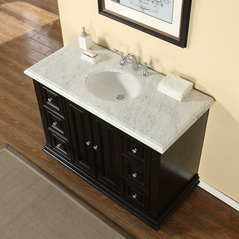48-inch Bathroom Single Sink Vanity Carrara White Marble ...