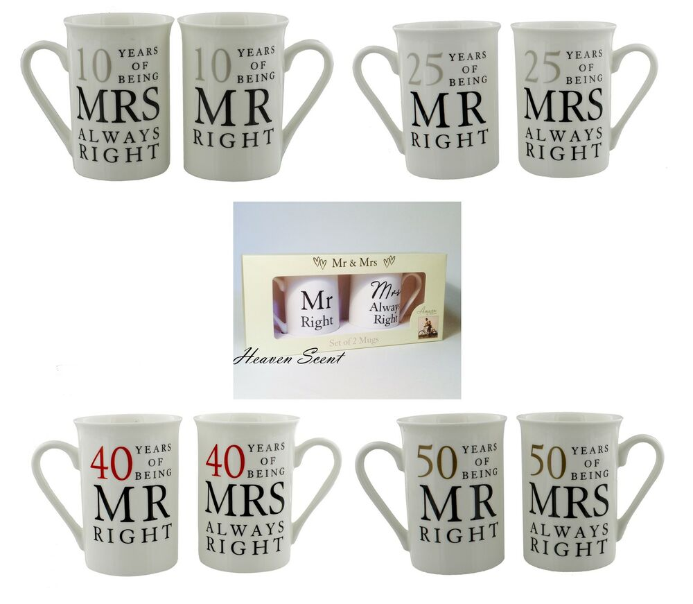 Ideas For 40th Wedding Anniversary Gifts: Mr Right Mrs Always Right Mug Wedding Anniversary Gift