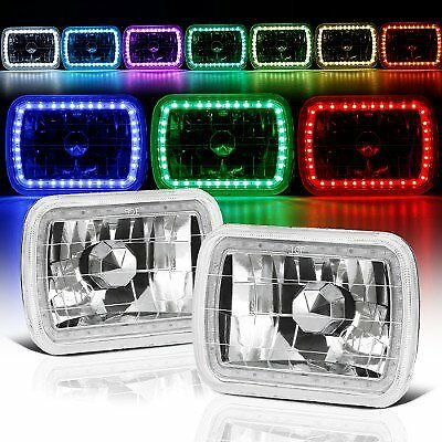 Halo Lights For Jeep Wrangler >> 86-95 JEEP WRANGLER YJ 7X6 RGB MULTI COLOR LED SMD Halo Headlights SET PAIR | eBay